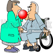 Female Nurse Giving a Male Senior Patient in a Wheelchair a Test With a Respiratory Therapy Balloon Clipart Picture © Dennis Cox #6154