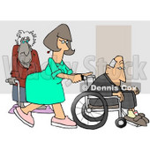 Female Nurse Pushing a Senior Man's Wheelchair Past an Old Lady Using a Cane in the Hospital Clipart Picture © djart #6155