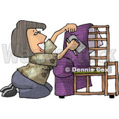 Woman Kneeling While Putting Purple Upholstery on a Chair Frame Clipart Picture © djart #6157