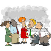 Group of Co-Workers Taking a Cigarette Break Clipart Picture © djart #6158