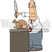 Man Standing at a Counter Preparing to Carve a Thanksgiving Turkey Clipart Picture © djart #6160