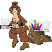 Turkey Behind a Rock, Hiding From a Pilgrim With a Blunderbuss Gun Clipart Picture © djart #6161