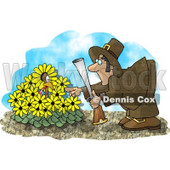 Wild Turkey in a Yellow Daisy Patch, Hiding From a Pilgrim With a Gun Clipart Picture © Dennis Cox #6162