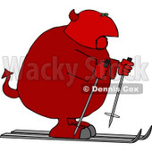 Fat Devil on Skis Clipart Picture © djart #6163
