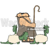 Caveman Shepherd Tending to His Wooly Dinosaurs Clipart Picture © Dennis Cox #6166