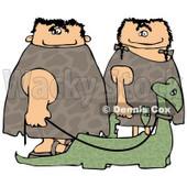 Caveman and Cavewoman Walking Their Pet Dinosaurs Clipart Picture © Dennis Cox #6168