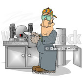 Sheet Metal Worker in a Fabrication Shop Clipart Picture © djart #6173