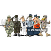 People Enlisted in the Different Branches of the United States Military Clipart Picture © Dennis Cox #6174