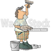 Drywall Installer Using Joint Compound and Fiberglass Tape Clipart Picture © djart #6175