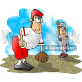 Little League Baseball Pitcher and Batter Clipart Picture © Dennis Cox #6177