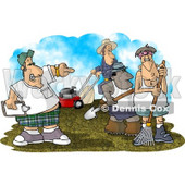 Aggressive Landscaper Boss Managing His Employees Clipart Picture © djart #6178