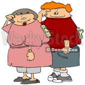 Husband and Wife with On and Off Switches Attached to Their Backs Clipart Picture © djart #6182