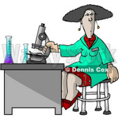 Female Scientist Using a Microscope in a Laboratory Clipart Picture © Dennis Cox #6184