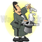 Male Magician Pulling a Rabbit Out of a Hat Clipart Picture © Dennis Cox #6186