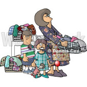 Mom Doing Laundry with Her Kids Clipart Picture © djart #6187