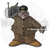 African American Man Listening to Music On a Portable Boombox Radio Clipart Picture © djart #6189