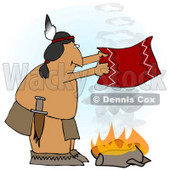 Royalty-free (RF) Clipart Illustration of a Native American Man Fanning A Fire With A Blanket © Dennis Cox #61894