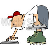 Royalty-free (RF) Clipart Illustration of a Cement Finisher Man Bending Over And Using Tools To Smooth The Top © Dennis Cox #61895