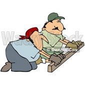 Royalty-free (RF) Clipart Illustration of Two Worker Men Kneeling And Using A Board To Smooth Cement © Dennis Cox #61896