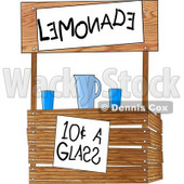 Funny Lemonade Stand Operated by Children Clipart Illustration © Dennis Cox #6190