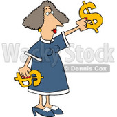 Money Woman Putting Decorating with Dollar Signs Clipart Picture © Dennis Cox #6193