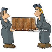 Two Men (Movers) Moving a Piece of Furniture Clipart Picture © Dennis Cox #6194