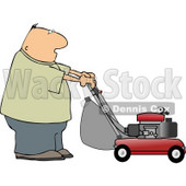 Man Cutting Grass with a Lawnmower Clipart Picture © Dennis Cox #6195