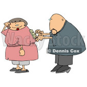 Man Trying to Turn His Wife on By Using the Switch on Her Back Clipart Picture © Dennis Cox #6201