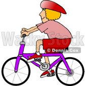 Woman Wearing a Helmet and Riding a Bicycle Clipart Picture © djart #6203