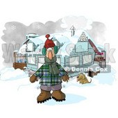 Man in Winter Clothes, Standing by a House With a Dog and Hot Chocolate Stand Clipart © djart #6204
