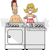 Poor Married Couple Selling Their Matching Washer & Dryer Clipart Picture © djart #6207