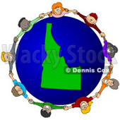 Royalty-Free (RF) Clipart Illustration of a Circle Of Children Holding Hands Around An Idaho Globe © djart #62078