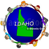 Royalty-Free (RF) Clipart Illustration of Children Holding Hands In A Circle Around A Idaho Globe © djart #62079