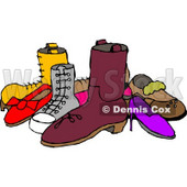 Pile of Assorted Shoes Clipart Picture © Dennis Cox #6208
