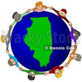 Royalty-Free (RF) Clipart Illustration of a Circle Of Children Holding Hands Around An Illinois Globe © djart #62081