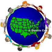 Royalty-Free (RF) Clipart Illustration of a Circle Of Children Holding Hands Around A United States of America Globe © Dennis Cox #62083