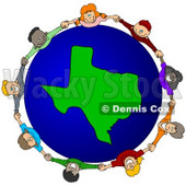 Royalty-Free (RF) Clipart Illustration of a Circle Of Children Holding Hands Around A Texas Globe © Dennis Cox #62084