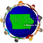 Royalty-Free (RF) Clipart Illustration of a Circle Of Children Holding Hands Around An Iowa Globe © djart #62085