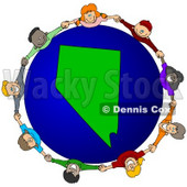 Royalty-Free (RF) Clipart Illustration of a Circle Of Children Holding Hands Around A Nevada Globe © djart #62086