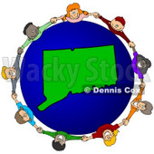 Royalty-Free (RF) Clipart Illustration of a Circle Of Children Holding Hands Around A Connecticut Globe © djart #62087