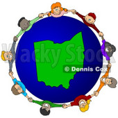 Royalty-Free (RF) Clipart Illustration of a Circle Of Children Holding Hands Around An Ohio Globe © djart #62088