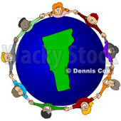 Royalty-Free (RF) Clipart Illustration of a Circle Of Children Holding Hands Around A Vermont Globe © djart #62089