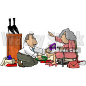 Shoe Salesman Helping an Elderly Woman Pick Out a New Pair of Shoes Clipart Picture © Dennis Cox #6209