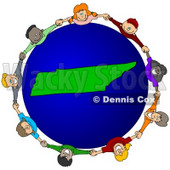 Royalty-Free (RF) Clipart Illustration of a Circle Of Children Holding Hands Around A Tennessee Globe © djart #62090