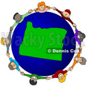 Royalty-Free (RF) Clipart Illustration of a Circle Of Children Holding Hands Around An Oregon Globe © djart #62091
