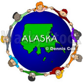 Royalty-Free (RF) Clipart Illustration of Children Holding Hands In A Circle Around An Alaska Globe © djart #62092