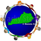Royalty-Free (RF) Clipart Illustration of a Circle Of Children Holding Hands Around A Kentucky Globe © djart #62093