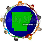 Royalty-Free (RF) Clipart Illustration of a Circle Of Children Holding Hands Around An Arkansas Globe © djart #62094