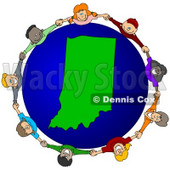 Royalty-Free (RF) Clipart Illustration of a Circle Of Children Holding Hands Around An Indiana Globe © djart #62095