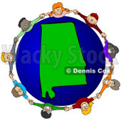 Royalty-Free (RF) Clipart Illustration of a Circle Of Children Holding Hands Around An Alabama Globe © djart #62097